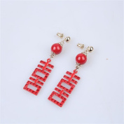 DELLT- Chinese Earrings Bridal Jewellery Red Double Hi Earrings Wedding Dress Classic Ear Acupuncture Accessories