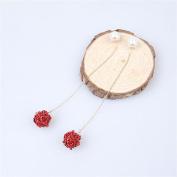 DELLT- Spring And Summer Bridal Earrings Red Earrings Wedding Ear Line White Pearl Red Rose Earrings
