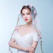 DELLT- Korean Bride Flowers Wedding Veil Short Paragraph Rattan Headdress Accessories Pink Flowers Veil Bridal Veil