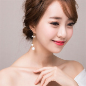 DELLT- Korean version of the bow long pearl earrings jewellery Europe and the United States tassel earrings earrings temperament female accessories