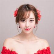 DELLT- Bride headdress red flowers hair ornaments wedding dress dress Korean style wedding accessories hair hair clips