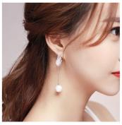 DELLT- Fashion Korean earrings white wings ear jewellery bridal earrings pearl asymmetrical ear needles