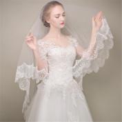 Wedding Bride Veil Short Section Fingertip Length Double Layer Veil Fine Lace Edge White Ivory