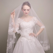 Wedding Bride Veil Lace Edge Versus Rhinestones Double Layer Church Length White Ivory