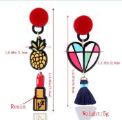 Women's fashion fruit Lipstick Asymmetry Long section Earrings for party /wedding Jewellery
