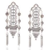 Women's Carved Hollow Flowers Diamond Tassel Earrings For Women Statement Dangle Earrings for party /wedding Jewellery