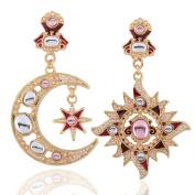 Women's Retro Sun god Moon God Asymmetry Exaggeration Earrings for party /wedding Jewellery