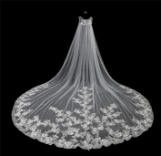 Cathedral veil long beautiful dragging bride wedding veil .Can wear. pure white