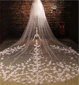 bride wedding veil Beautiful lace three - dimensional flowers big tail yarn long wedding