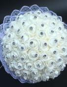 Wedding Flowers White Roses Bride Bouquets Silk / Bead / Rhinestone