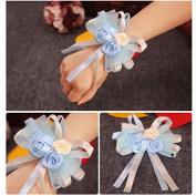 Chytaii Bridal Wrist Corsage Flower Bracelet with Elastic Band for Wedding Prom Bride Bridesmaid Decoration Blue