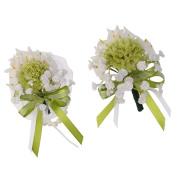 MagiDeal Wrist Corsage Flower+Boutonniere Corsage Rose Silk Flower for Wedding Bridal