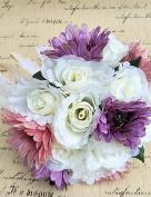 LNPP Wedding Flowers Round Roses Bouquets Wedding / Party/ Evening Satin / Silk / Bead / Rhinestone