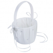 AsentechUK® 1 pcs Double Heart Wedding Flower Girl Basket Rhinestone Decor White