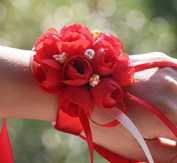 2x Wicemoon Flower Wristband Artificial Flower Wrist With Wristband for Girl Bridesmaid Wedding Wrist Party Hand Flower