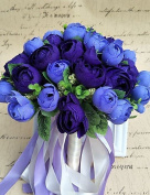 Heart & M Wedding Flowers Round Roses Bouquets Wedding / Party/ Evening Satin / Silk / Bead / Rhinestone , blue