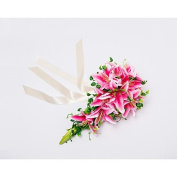 "Heart & M Wedding Flowers Cascade Lilies Bouquets Wedding Party/ Evening Satin 19.7""(Approx.50cm) , blushing pink"
