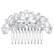 Westeng Bridal Hair Comb Clip Silver Wedding Hair Comb Rhinestones Headdress for Wedding/Party/Prom