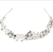 Fashion diamond pearl hair band bridal headdress crown crystal headband silver