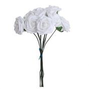 10Pcs Artificial Flower Foam Rose Wedding Bridesmaid Bridal Bouquet Party Decor White & 5.5Cm