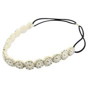 bismarckbeer Women Bohemian Handcraft Rhinestone Faux Pearls Hairband Wedding Bridal Headband