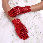 FUNAN New Red Fingertip Gloves Women's Wrist Length Party Evening Events Bridal Glove With DIY Pearls and Rhinestones , ruby