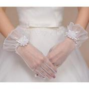 FUNAN Wrist Length Fingertips Glove Net Bridal Gloves Spring Summer Fall Floral