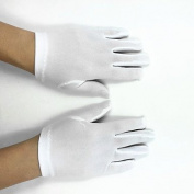FUNAN Wrist Length Fingertips Glove Elastic Satin Polyester Flower Girl Gloves Spring Summer Fall with DIY Pearls and Rhinestones , white