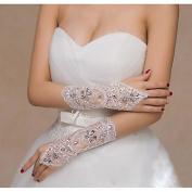 FUNAN Elbow Length Fingerless Glove Elastic Satin Bridal Gloves Spring Summer Fall Winter