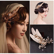Women's Headpiece-Special Occasion Retro Golden Leaves Hairpin Wedding Dress Accessories for Party /Prom/Gift
