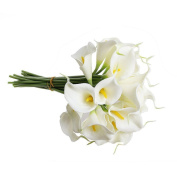 bismarckbeer 5Pcs White Calla Lily Real Touch Artificial Flower Bridal Wedding Party Decor