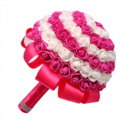 Vovotrade® Silk Flowers Crystal Roses Bridal Bouquet Bridesmaid Wedding Bouquet
