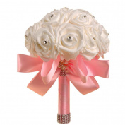 Vovotrade®Silk Flowers Crystal Roses Pearl Bridesmaid Wedding Bouquet Bridal Home Decor