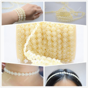 Ictronix 25m/roll Beige Sunflower Shape Garland Acrylic Pearl Beads Chain Jewellery Wedding Bridal Bouquet Trimming DIY Decoration