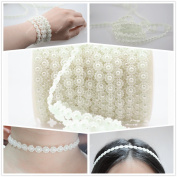 Ictronix 25m/roll White Sunflower Shape Garland Acrylic Pearl Beads Chain Jewellery Wedding Bridal Bouquet Trimming DIY Decoration