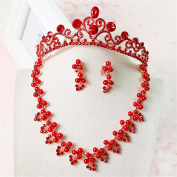 Bride Married Headdress Red Rhinestones Crown Necklace Ear Clips Three-piece set for Prom, Party, Ball, Banquet , wedding dress accessories