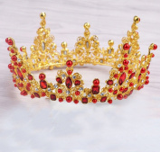 European-style bride Baroque large round crown red diamond ornaments with accessories
