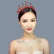 Bride Red Crown Headdress Alloy Rhinestone Hair Ornament Flower