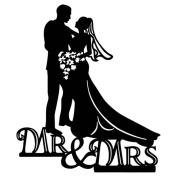 JasmineLi Acrylic Cake Inserted Card Mr & Mrs Bride Groom Wedding Cake Decoration