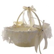 Wedding Girls Flower Basket, Handmade Bamboo Western Style Wedding Basket, Satin Bowknot Lace Flower Rhinestone Bride Basket,Marriage Props Decoation-26×22(H)cm