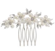 Lumanuby Bridal Wedding Exquisite Flower Crystal Rhinestones Pearls Women Hair Clip Comb Romantic Bride Hair Clip Accessory Bridal Headdress