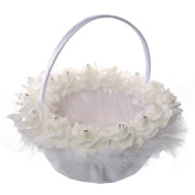 Romantic Wedding Flower Girl Basket, Satin Bowknot Flower Basket, Rhinestone Lace Flower Wedding Basket, Bamboo Cloth Candy Basket,Marriage Props Bride Wedding Supplies - White,23x23cm
