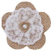 Cdet Wedding Decor Handmade Linen Lace Rose Flowers DIY Rustic Festivals Party Decorations Khaki