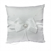 Jooks Wedding Ring Pillow Pocket Bridal Ring Bearer Cushion Romantic Embellished with Satin Bowknot Elegant White Design (20*20cm)
