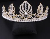 Bridal high - grade pearl crystal crown handicraft jewellery