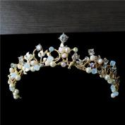Bride crystal beaded handmade small crown pearl diamond head ornaments simple jewellery