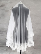 FUNAN Wedding Veil One-tier Blusher Veils Fingertip Veils Lace Applique Edge Scalloped Edge Tulle Lace , ivory