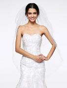 FUNAN Wedding Veil Three-tier Fingertip Veils Net , white
