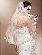FUNAN Wedding Veil One-tier Elbow Veils Lace Applique Edge 31.5 in (80cm) Tulle Lace WhiteA-line, Ball Gown, Princess, Sheath/ Column, Trumpet/