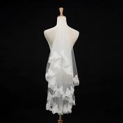 FUNAN Wedding Veil One-tier Elbow Veils Lace Applique Edge , ivory